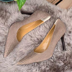 Colin Stuart Pointed Toe Textured Snakeskin Heels